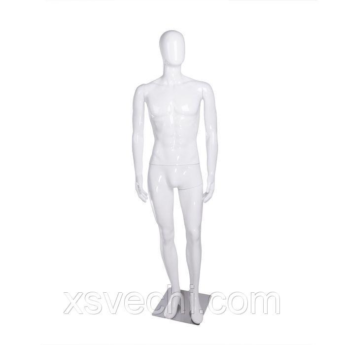 Манекен мужской, безликий, обхват 100*75*95, h185, на подставке, белый глянец