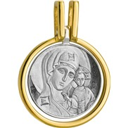 586 Образ Божией Матери «Казанская», круглый, серебро 925° с позолотой