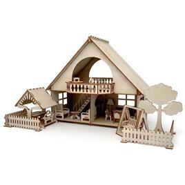 """ХэппиДом Конструктор-кукольный домик ХэппиДом """"Летний дом с беседкой и качелями"""" из дерева"""