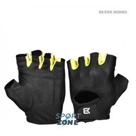 Перчатки Better bodies Womens train gloves, черные с лайм