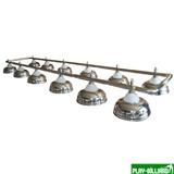 Лампа на двенадцать плафонов «Crown» (серебристая штанга, серебристый плафон D38см), интернет-магазин товаров для бильярда Play-billiard.ru