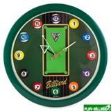 """Часы настенные """"12 шаров"""" D30 см (зеленые), пластик, интернет-магазин товаров для бильярда Play-billiard.ru"""