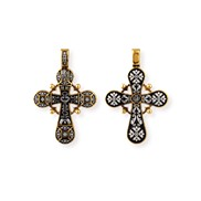 Крест Голгофский № 08039, серебро 925° с позолотой
