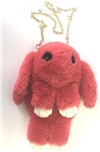 """Сумка-рюкзак 3D """"Меховой Кролик"""" на цепочке (натуральный мех) кораловый"""
