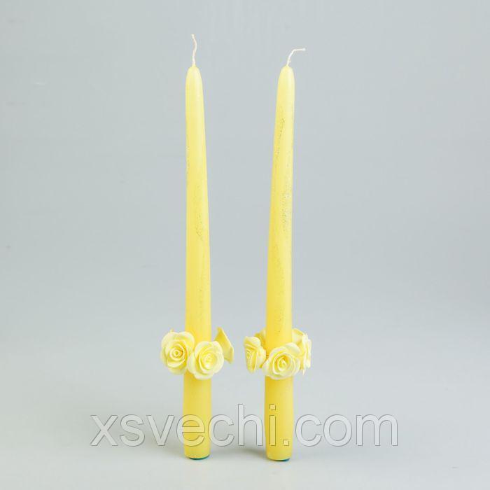 Набор свадебных парафиновых свечей с декором, жёлтые с розочками, 2 шт. в упаковке