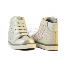 Ботинки Papsin для девочки серебристый металик (шнурок,молния)