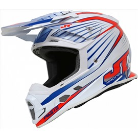Шлем кроссовый ALS1.0 бело-красно-синий S