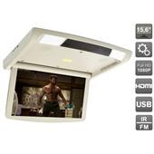 """Потолочный монитор 15,6"""" с моторизованным приводом и встроенным FULL HD медиаплеером AVIS Electronics AVS1250T (бежевый, серый)"""