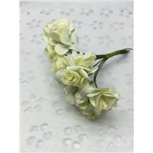 Букетик роз бумажный цвет: айвори (ivory). Размер цветка 15мм