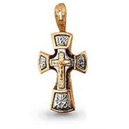 Крест арт 11963 золотой литьё с белым золотом