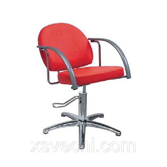 """Парикмахерское кресло """"Глория"""", гидравлический подъемник, пятилучье хром, цвет красный"""