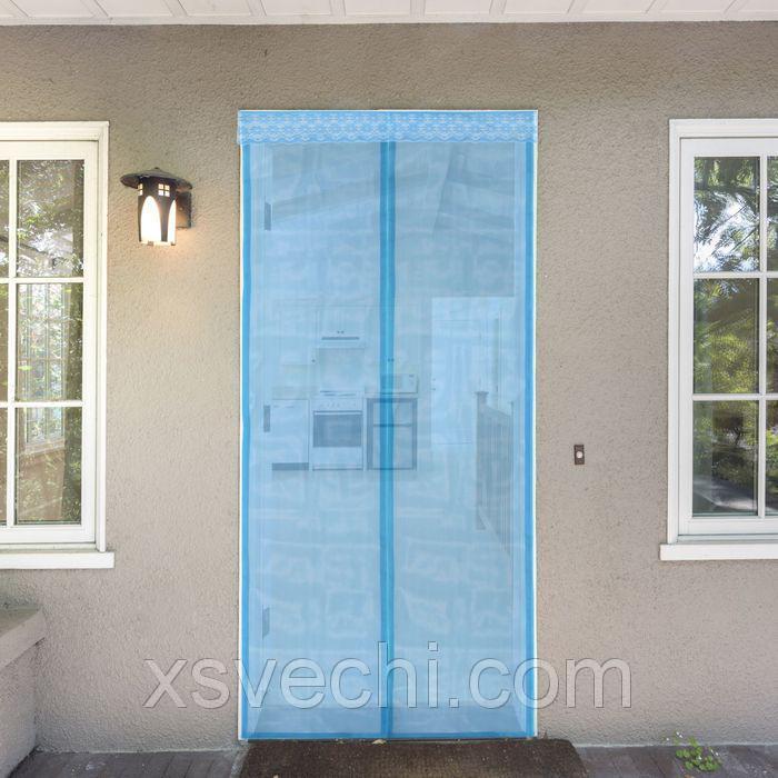 Сетка антимоскитная на магнитной ленте 80x210 см, цвет голубой