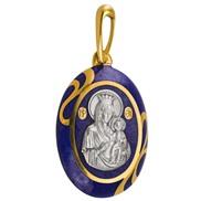 622 Образ божией матери «иверская», серебро 925° с позолотой, эмаль