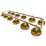 Лампа на двенадцать плафонов «Colorful» (серебристо-золотистая штанга, цветной плафон D44см), интернет-магазин товаров для бильярда Play-billiard.ru