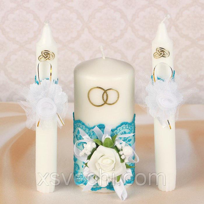 """Комплект свечей элит в коробке """"Семейный очаг""""+2 свечи для родителей, бирюзовый"""