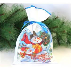 Новогодний мешок для конфет и подарков 30х40 см. Снеговик и ёлка