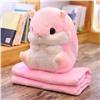 Плед-подушка Хомяк 3 в 1 с муфтой для рук Розовый