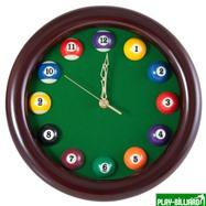 Weekend Часы настенные «12 шаров» D27 см (черные), деревянные, интернет-магазин товаров для бильярда Play-billiard.ru. Фото 1