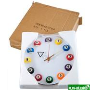 """Часы настенные """"12 шаров"""" D20,5 см (белые), пластик, интернет-магазин товаров для бильярда Play-billiard.ru. Фото 2"""