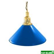 Weekend Лампа на один плафон «Blue Light» (золотистая чашка, синий плафон D35см), интернет-магазин товаров для бильярда Play-billiard.ru