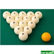 "Aramith Saluc Комплект шаров 68 мм ""Aramith Standard"", желтый биток, интернет-магазин товаров для бильярда Play-billiard.ru. Фото 2"