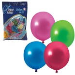 """Шарики воздушные Веселая Затея 10"""" (25 см) 100 шт 12 цветов металлик 1101-0001"""