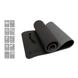 Коврик для йоги 10 мм двухслойный TPE черно-серый