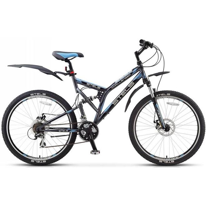 Велосипед Stels Challenger MD 26 (2016) Темно-серый/Черный/Голубой , интернет-магазин Sportcoast.ru